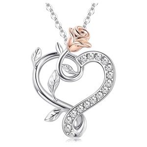 Beauty and Beast Enchanted Rose Heart Necklace